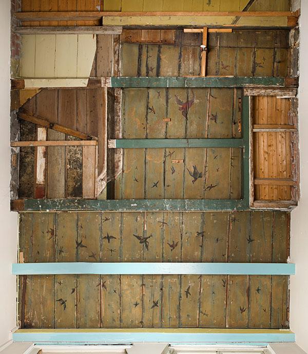Het vogelplafond was verscholen achter het plafond in een grachtenpand in Amsterdam