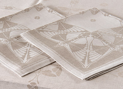 Foto's van textiel, servetten van linnendamast