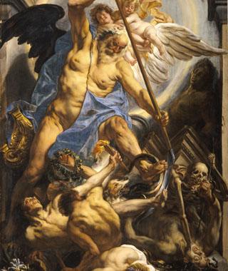 Detail van Allegorie op de tijd door Jacob Jordaens