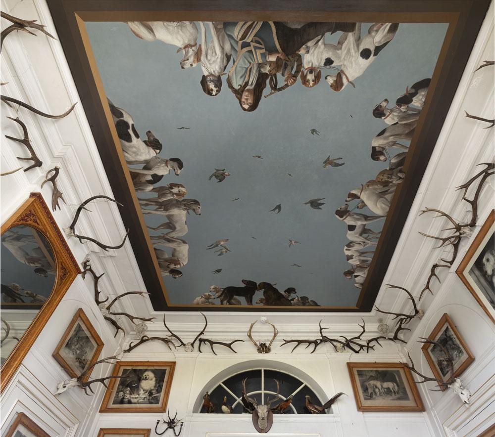 Interieurfoto van plafond in de jachtkamer in Paleis Soestdijk